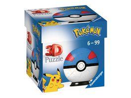 Ravensburger 3D Puzzle 11265 Puzzle Ball Pokemon Pokeballs Superball EN Great Ball 54 Teile fuer Pokemon Fans ab 6 Jahren