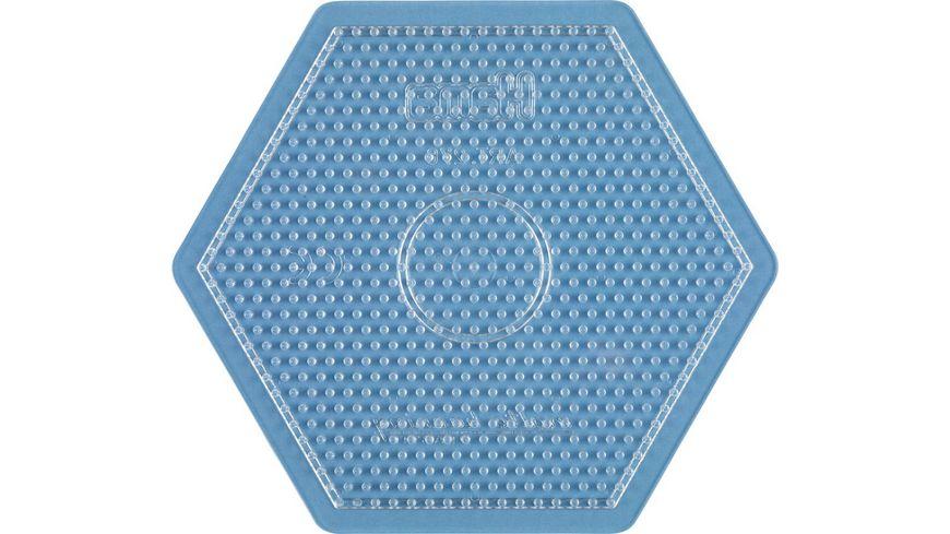 Hama Bügelperlen midi5+ Stiftplatte 6eck groß, transparent