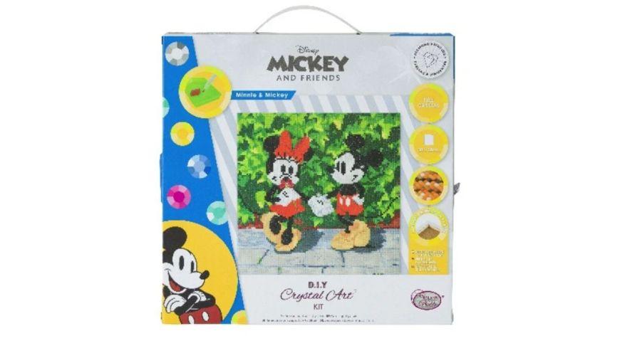 Craft Buddy - Minnie and Mickey, 30x30cm Crystal Art Leinwand auf Holzrahmen