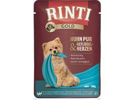RINTI Hundenassfutter Gold Huhn Pur Gefluegelherzen