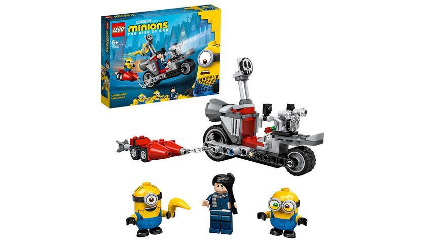 LEGO Minions 75549 Unaufhaltsame Motorrad-Jagd Spielzeug mit Figuren
