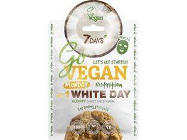 7DAYS GO VEGAN MONDAY WHITE DAY Vegane Gesichtspflege Maske Hafer Mandeloel Avocado Kokosnuss