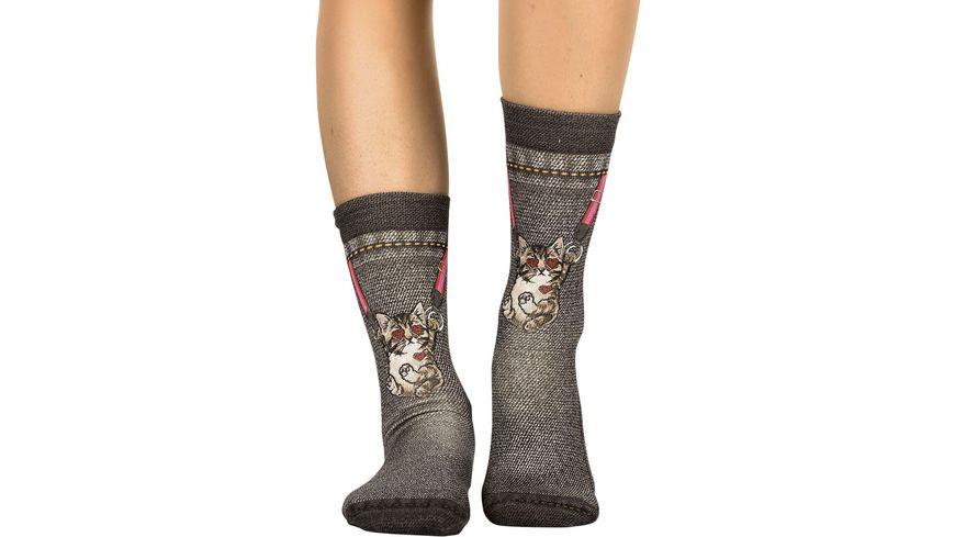 wigglesteps Damen Socken Hanging Cat