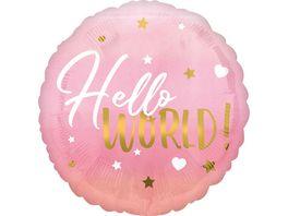 Amscan Folienballon BABY GIRL Hello World pink S40