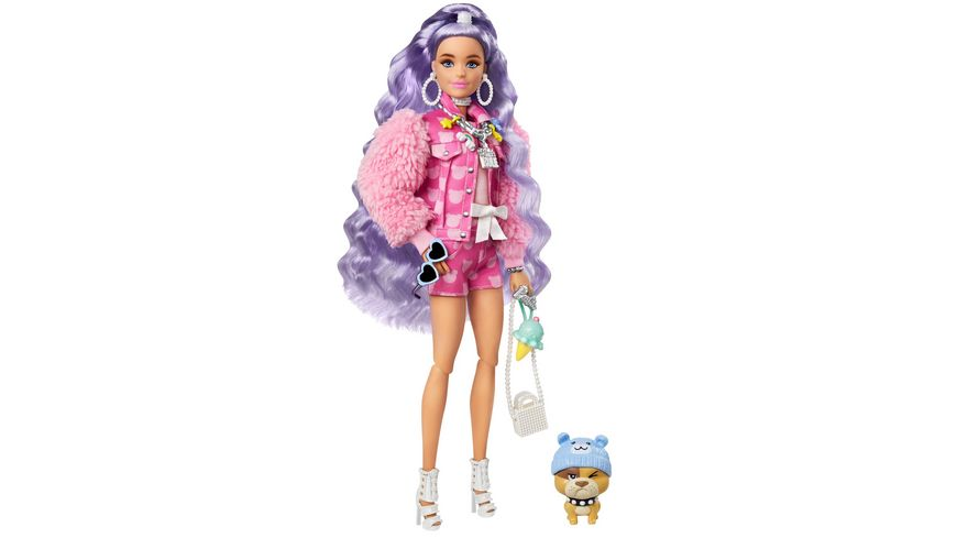 Barbie Extra Puppe mit lila-welligem Haar, Anziehpuppe, Modepuppe