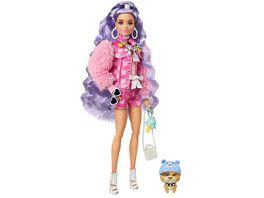 Barbie Extra Puppe mit lila welligem Haar Anziehpuppe Modepuppe
