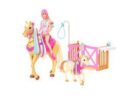 Barbie Reiterin Puppe inkl Pferd und Fohlen mit Farbwechsel Maehne Set Zubehoer