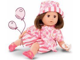 Goetz Cosy Aquini Stripe Vibes Babypuppe Badepuppe mit braunen Haaren und braunen Schlafaugen 33 cm