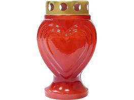 Grablicht Herz Forma Rot