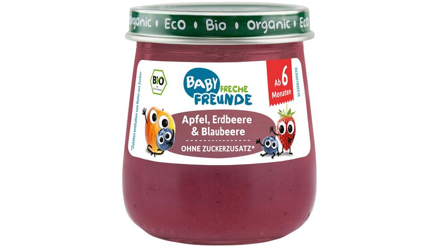 Freche Freunde Bio Gläschen Apfel, Erdbeere & Blaubeere