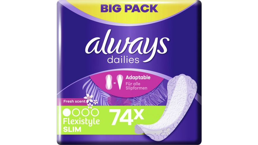 Always Slipeinlagen Flexistyle Slim Fresh BigPack 74ST