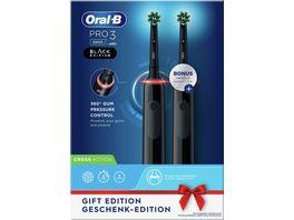 Oral B Elektrische Zahnbuerste Pro 3 3900 Black Edition mit 2 Handstueck