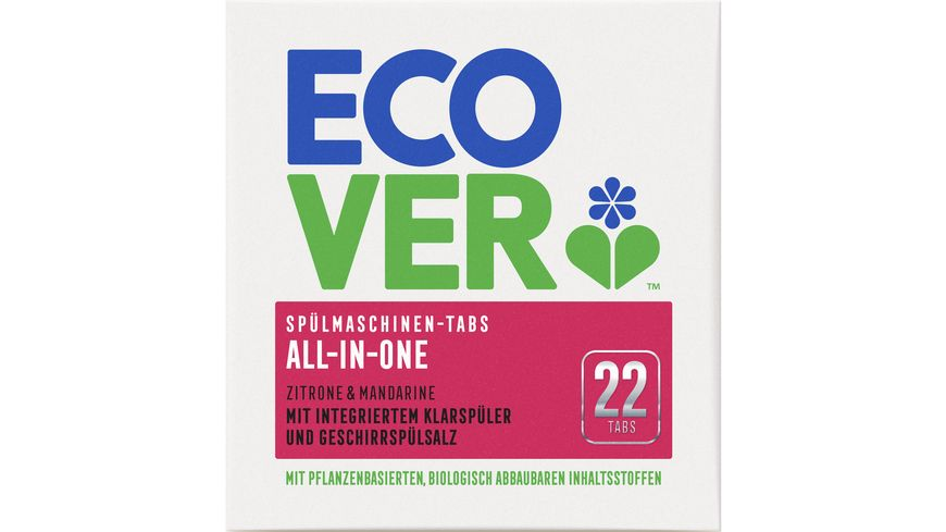 Ecover All-in-One Spülmaschinentabs Zitrone, 22 Tabs