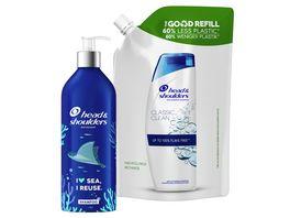 head shoulders Classic Clean Shampoo Starter Set mit Nachfuellbare Aluminiumflasche Nachfuellpack