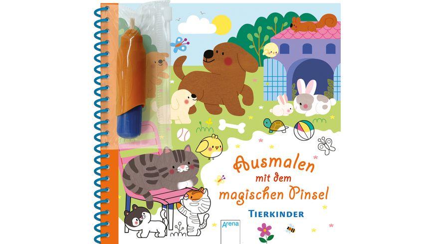 Ausmalen mit dem magischen Pinsel. Tierkinder Malbuch mit Wassertankstift ab 3 Jahren