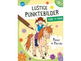 Lustige Punktebilder von 1 bis 100 Ponys und Pferde Von Punkt zu Punkt Raetselblock fuer Kinder ab 7 Jahren