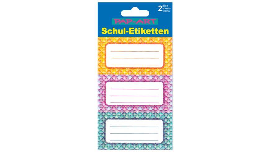 PAP-ART Schulbuch-Etiketten Meerjungfrau Papier/Glitter