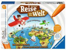 Ravensburger tiptoi Spiel Unsere Reise um die Welt Lernspiel ab 4 Jahren lehrreiches Geografiespiel fuer Jungen und Maedchen fuer 1 4 Spieler
