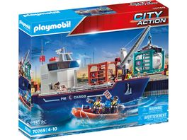 PLAYMOBIL 70769 City Action Grosses Containerschiff mit Zollboot