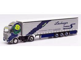 Herpa 313551 Scania 143 420 V8 Streamline Gardinenplanen Sattelzug Lechner Trans