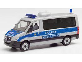 Herpa 095747 Mercedes Benz Sprinter 13 Flachdach Bus Polizei Berlin Mobile Wache