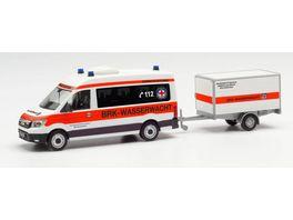 Herpa 096096 MAN TGE Bus HD mit Anhaenger BRK Wasserwacht Amberg Sulzbach