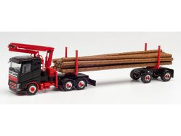 Herpa 313575 Volvo FH FD Langholztransporter Sattelzug schwarz rot