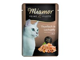 Miamor Katzennassfutter Feine Filets in Jelly Thunfisch in Lachsjelly