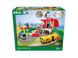 BRIO Bahn 33989 Grosses City Bahnhof Set Umfangreiches Holzeisenbahn Set mit Umsteigebahnhof