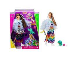 Barbie Extra Puppe in Blauer Rueschenjacke mit Haustierkrokodil fuer Kinder ab 3 Jahren