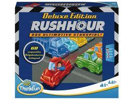 Thinkfun Rush Hour Das bekannte Stau Spiel in der Deluxe Edition mit Fahrzeugen in Metalloptik Logikspiel fuer Erwachsene und Kinder ab 8 Jahren