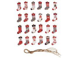Rayher Adventskalenderzahlen Socken 1 24 mit Klammer