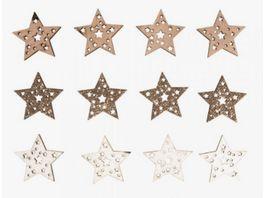 Rayher Holz Streuteile Sterne mit Glitzer 3 5cm