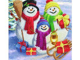 Craft Buddy Crystal Art Card Kit Snowman Family Fun 18x18cm
