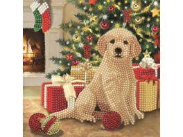 Craft Buddy Crystal Art Card Kit Puppy s First Christmas 18x18cm