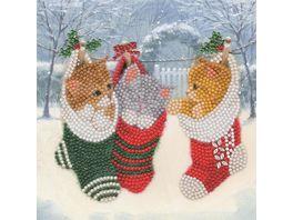 Craft Buddy Crystal Art Card Kit Christmas Kittens 18x18cm