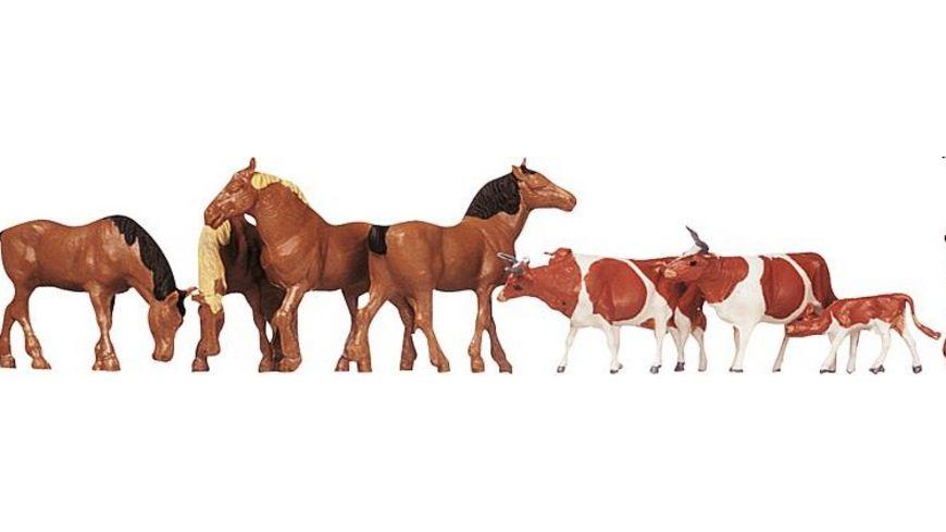 Faller H0 Figuren Pferde Kuehe braun gefleckt
