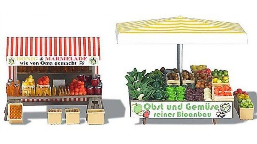 Busch 1071 Modellbahnzubehoer Marktstand Obst Gemuese