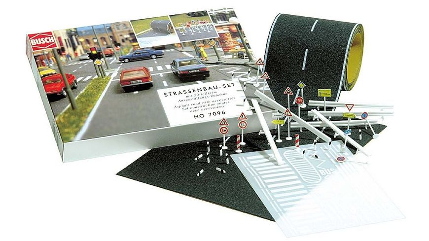 Busch 7096 Modellbahnzubehoer Strassenbau Set