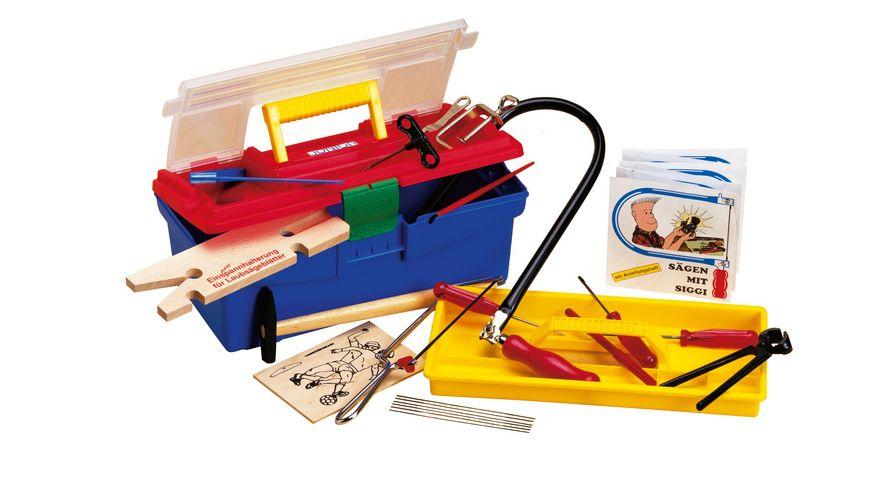 Pebaro Laubsaegegarnitur in Plastikbox mit elektrischer Bohrmaschine 090