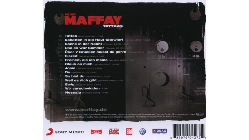 Tattoos 40 Jahre Maffay Alle Hits Neu produziert