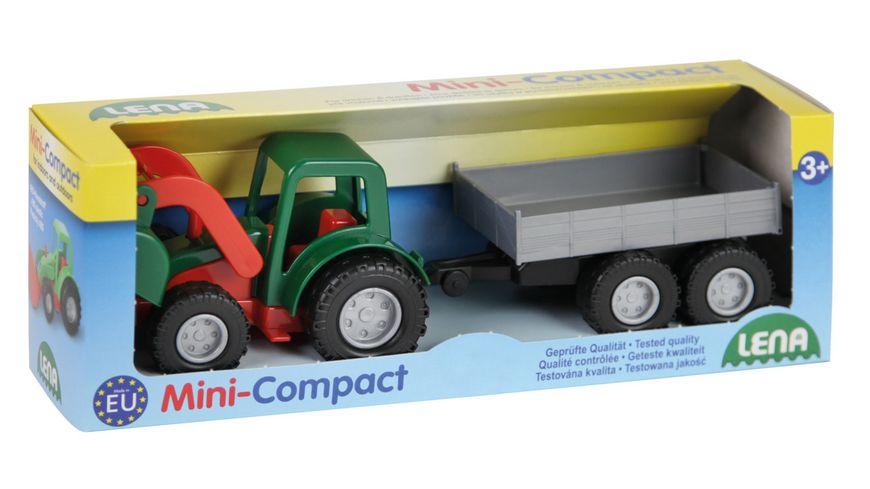 Lena - Fahrzeuge - Mini Compact 01240 Traktor mit Hänger, Schaukarton