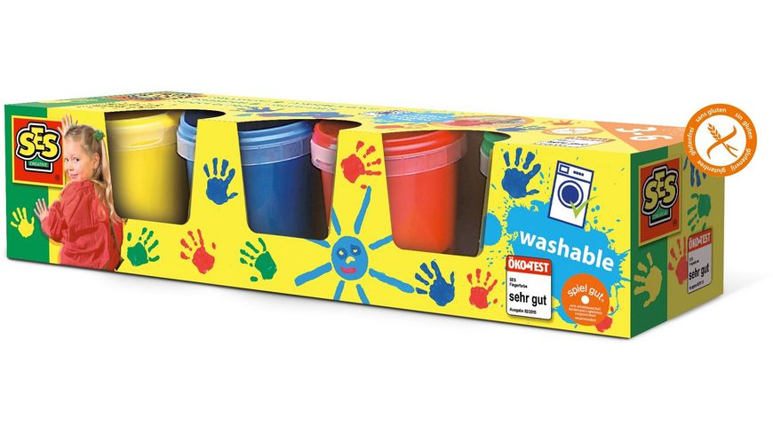 SES Creative Fingerfarbe 4 Farben je 150ml