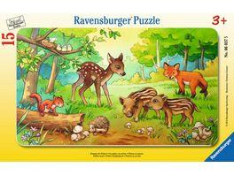 Ravensburger Rahmenpuzzle Tierkinder des Waldes 15 Teile