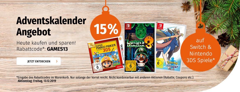 15% auf Switch & Nintendo 3DS Spiele