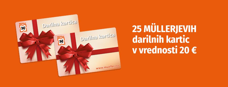 Sodelujte in zadenite eno izmed 25 Müllerjevih darilnih kartic