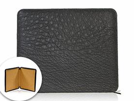 Straußenleder Accessoires iPad Tasche schwarz