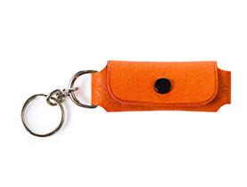 Straußenleder Schlüsselanhänger orange