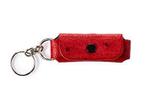 Straußenleder Schlüsselanhänger rot