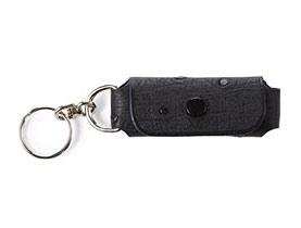 Straußenleder Schlüsselanhänger schwarz mit Noppen